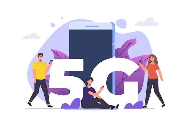 5g-netwerk draadloze systemen, snel mobiel internetconcept. vector illustratie