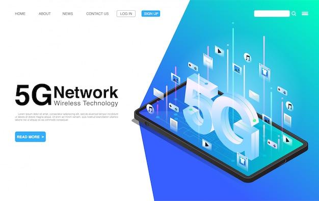5g-netwerk draadloze technologie op mobiele telefoon