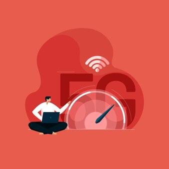 5g-netwerk draadloze technologie snel internet met digitale snelheidsmeter vijfde generatie technologie