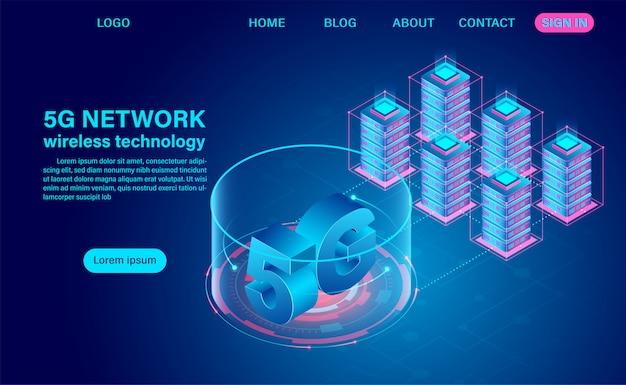 5g netwerk draadloze technologiecommunicatie en datacenter. isometrische platte ontwerp illustratie