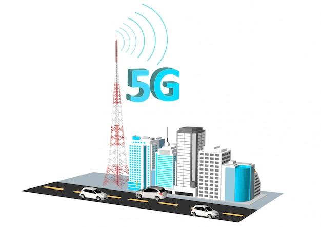 5g-netwerk in de stad