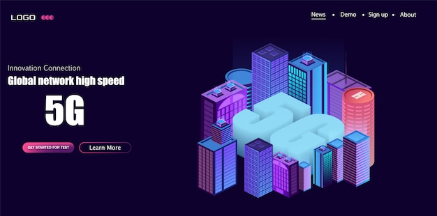 5g netwerklogo over de slimme stad met pictogrammen van stadsinfrastructuur