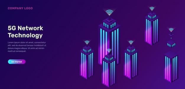 5g-netwerktechnologie, isometrisch concept