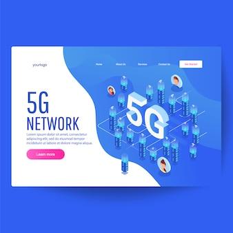 5g-netwerktechnologie, isometrisch van smart city, hoge gebouwen met draadloos internet