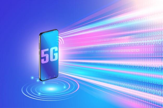 5g-netwerktechnologie op smartphone en snel draadloos netwerk. volgende generatie internet