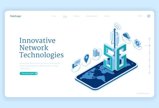 5g netwerktechnologieën isometrische bestemmingspagina. innovatieve draadloze mobiele telecommunicatiedienst van de nieuwe generatie. smartphone met wereldkaart, internetsnelheid verbinding 3d webbanner