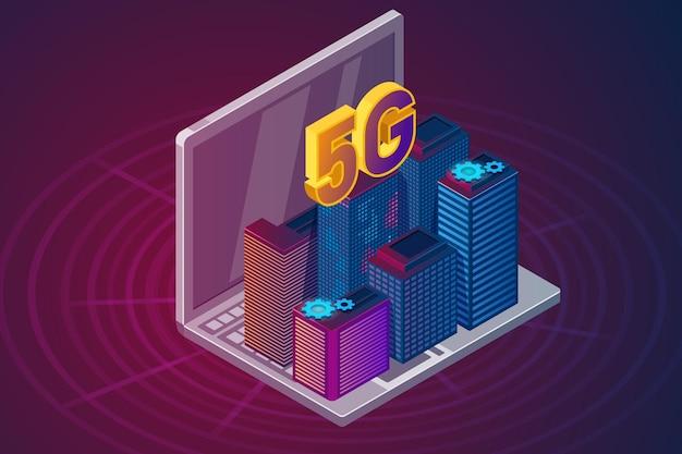 5g nieuwe draadloze internet wifi-verbinding illustratie