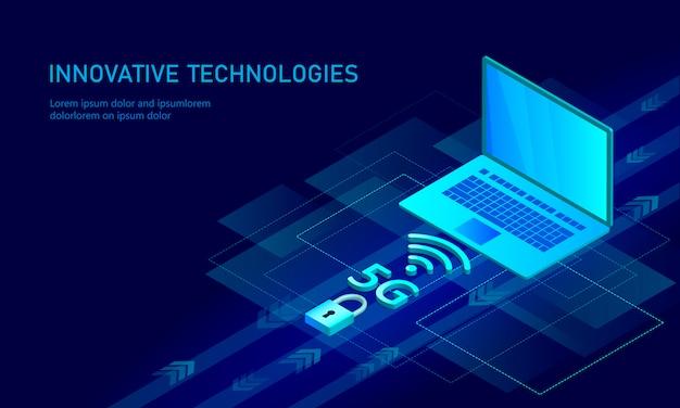 5g nieuwe wifi-verbinding voor draadloos internet. laptop mobiel apparaat isometrisch