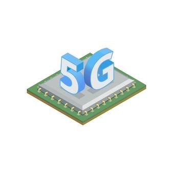 5g op siliciumchip in isometrische weergave