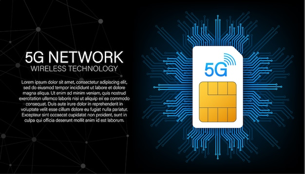 5g sim-kaart. sjabloon voor spandoek van mobiele telecommunicatietechnologie