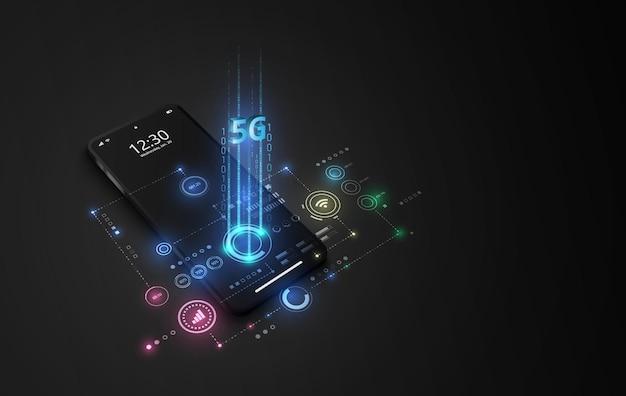 5g snelle internetnetwerkcommunicatie, mobiele smartphone met 5g-pictogrammen stromen op virtueel scherm, wereldwijde verbinding.