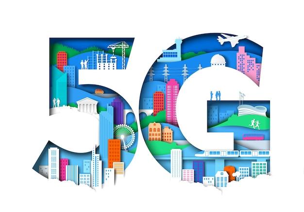 5g-symbool met stadselementen in papieren kunststijl