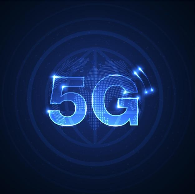 5g-symbool nieuwe draadloze internet wifi-verbinding vijfde innovatieve generatie van wereldwijde hoge snelheid