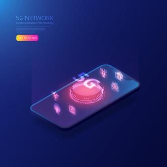 5g technologie isometrische sjabloon