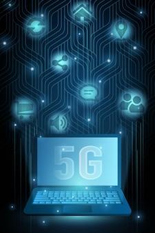 5g-technologie laptop en pictogrammen, futuristische illustratie met gloeiende stip. concept van draadloze snelle internetverbinding.