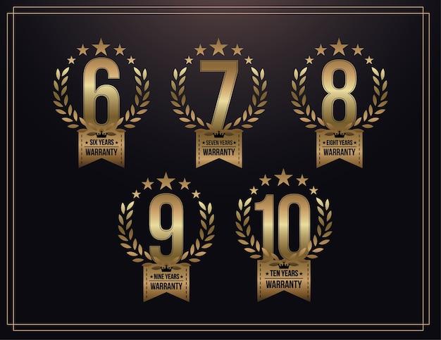 6, 7, 8, 9, 10 jaar garantie achtergrond met gouden lint en olijftak