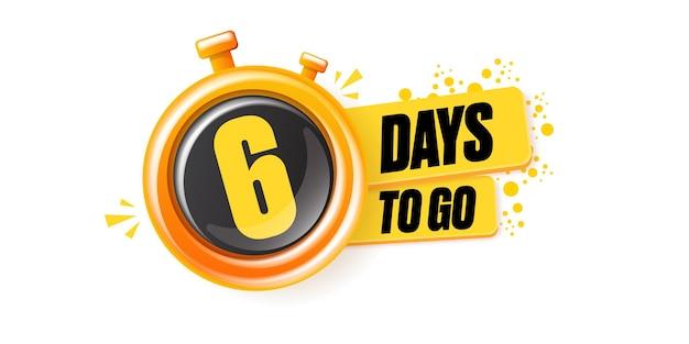 6 dagen te gaan bannerontwerpsjabloon