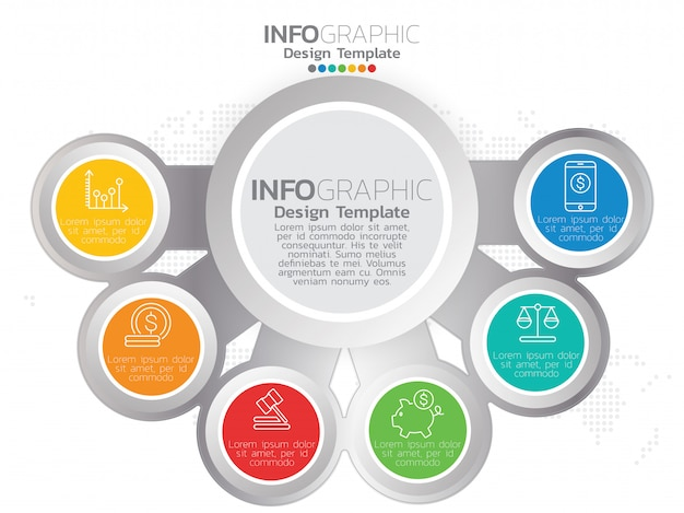 6 delen van presentatie zakelijke infographic sjabloon
