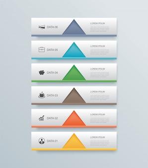 6 gegevensstap tijdlijn infographics tabblad papieren indexsjabloon.