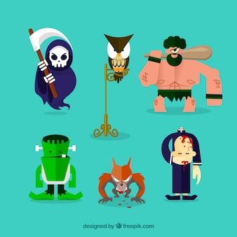 6 halloween karakters op een turkooise achtergrond