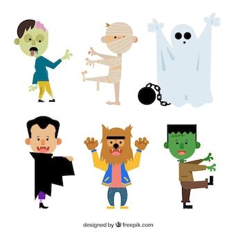 6 halloween karakters op een witte achtergrond