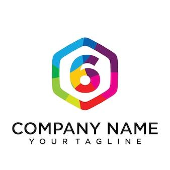 6 letter logo icon zeshoek ontwerpsjabloon element