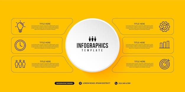 6 opties infographic sjabloon op gele achtergrond zakelijke workflow met meerdere stappen concept