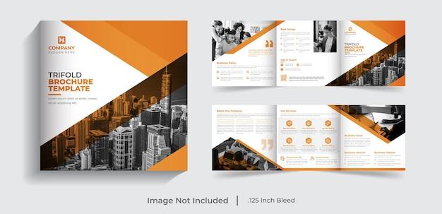 6 pagina's creatieve moderne zakelijke vierkante driebladige zakelijke brochure sjabloonontwerp