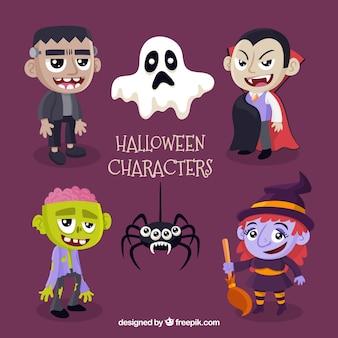 6 schattige halloween karakters op een paarse achtergrond