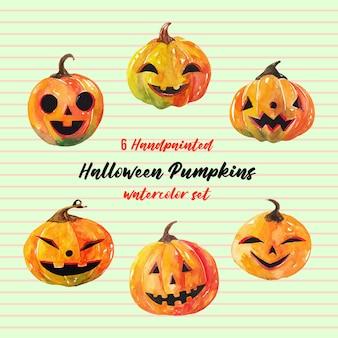 6 schattige halloween pompoenen aquarel set