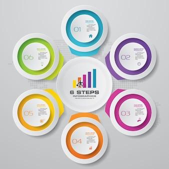 6 stappen grafiek infographics elementen. vectorillustratie.