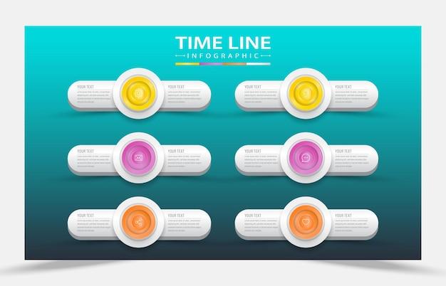 6 stappen infographic hoofdidee-element
