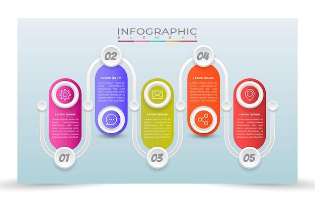 6 stappen infographic sjabloonstijl
