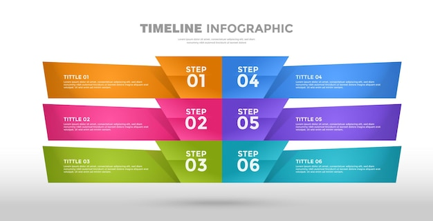 6 stappen modern infographic bedrijf