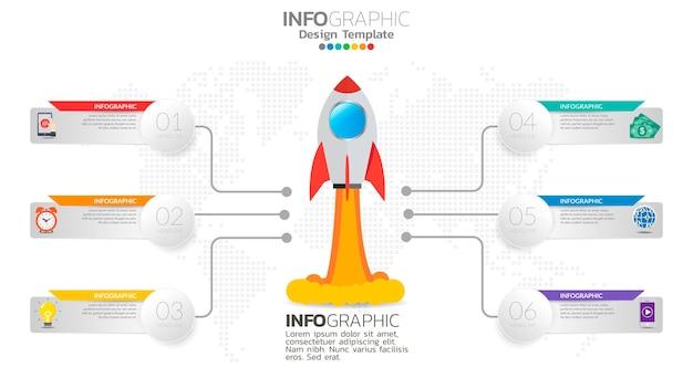 6 stappen opstarten infographics met raketlancering. zakelijke en financiële concept.