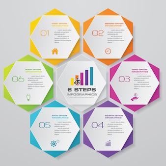 6 stappen proces grafiek infographics element.