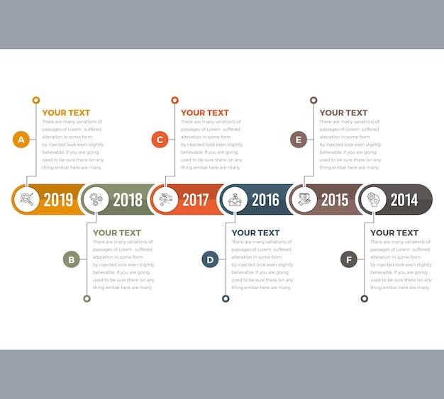 6 stappen tijdlijn infographics