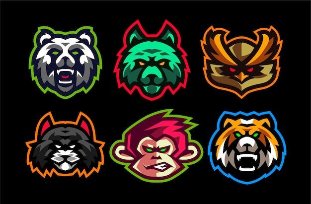 6 stel logo sjabloon voor dieren esport gaming in