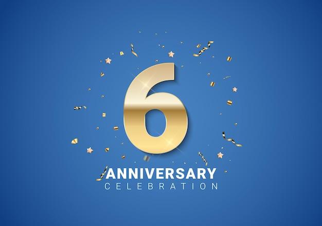 6 verjaardag achtergrond met gouden cijfers, confetti, sterren op heldere blauwe achtergrond. vectorillustratie eps10
