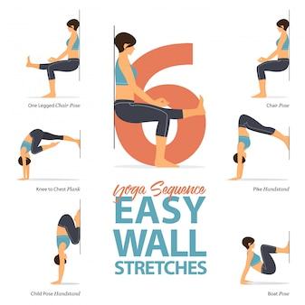 6 yoga houdingen voor rekoefeningen.