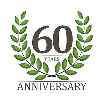 60 jaar verjaardag sjabloon met rood lint en lauwerkrans