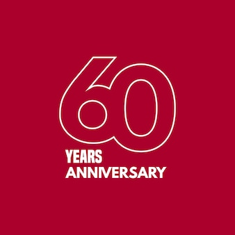 60 jaar verjaardag vector pictogram, logo. grafisch ontwerpelement met nummer en tekstcompositie voor 60-jarig jubileum