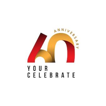 60 jaar verjaardag vector sjabloon ontwerp illustratie