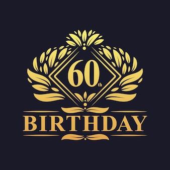 60 jaar verjaardagslogo, luxe gouden 60e verjaardagsviering.