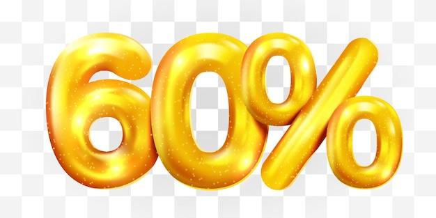 60 procent korting gouden ballon mega verkoop symbool sale