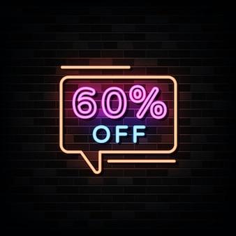 60 procent korting op neonreclames. ontwerpsjabloon neon stijl
