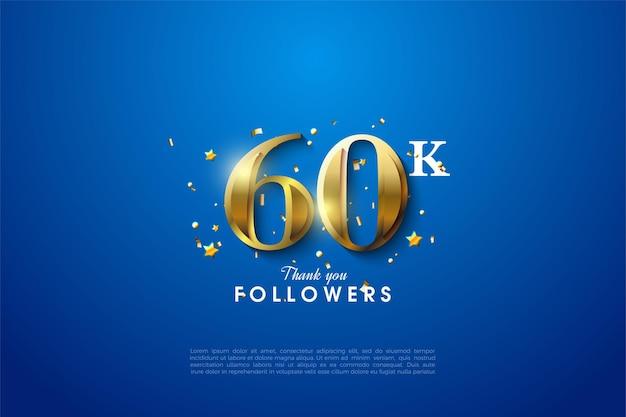 60k volgers met gloeiende gouden nummerillustratie op stevige blauwe achtergrond.