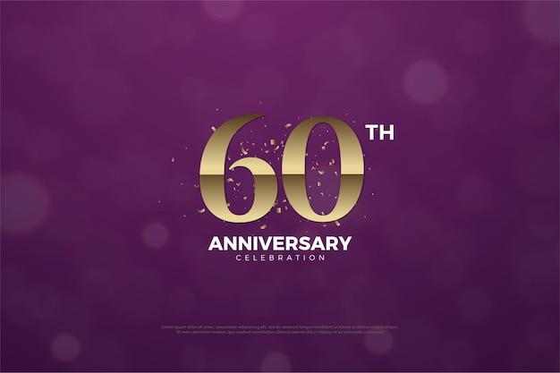 60ste verjaardag met cijfers en goudstukken op paarse achtergrond.