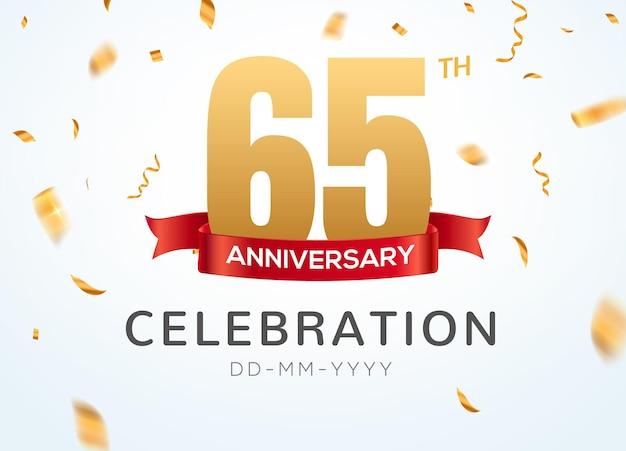 65 gouden jubileumnummers met gouden confetti. viering 65e verjaardag evenement partij sjabloon.