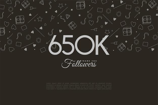 650.000 volgers met cijfers en miniaturen op de achtergrond